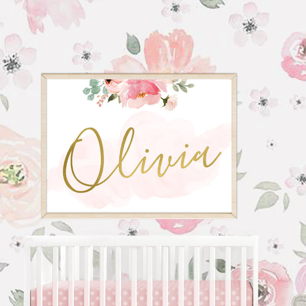 Blush Floral Nursery Name Sign for Floral Wallpaper Girl Nursery Decor Print Watercolor Floral Blush Pink Nursery Print Baby Shower Gift