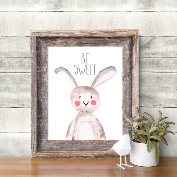 Bunny Rabbit Art Print Printable Nursery Animals Woodland Nursery Print Woodland Decor Nursery Wall Art Kids Wall Art Woodland Nursery Print