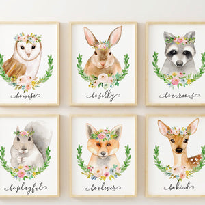 Woodland Nursery Animals Girl Woodland Baby Shower Gift Nursery Decor Girl Little Girl Boho Nursery Wall Art Woodland Animal Prints Set of 6