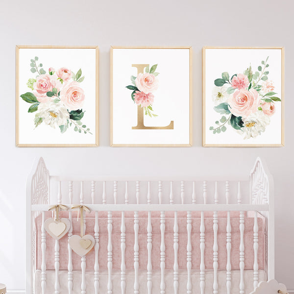 Baby Gift Baby Shower Gift Personalized Blush Nursery Art Set of 3 Girl Nursery Decor Pale Pink Monogram Art Large Over Crib Floral Flowers