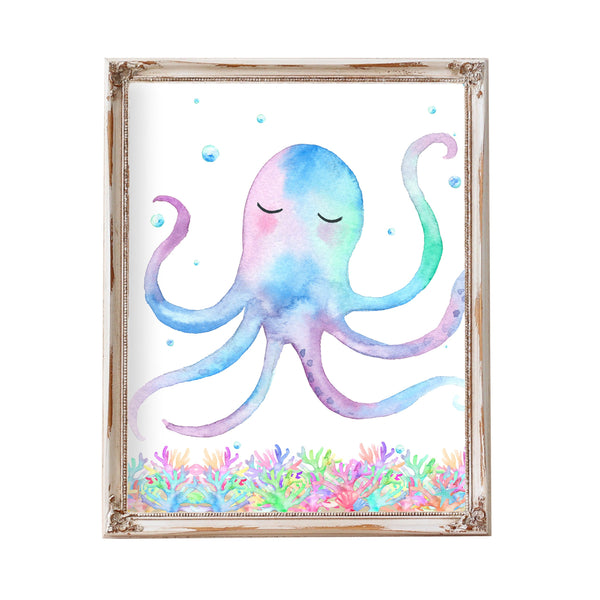 Kids Ocean Beach Bathroom Decor Octopus Decor Octopus Art Octopus Print Printable Kids Bathroom Art Ocean Theme Art Watercolor Octopus Print