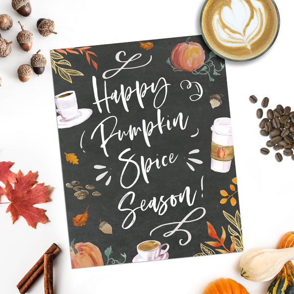 Happy Pumpkin Spice Season Printable Fall Home Decor Autumn Decor Thanksgiving Decor Coffee Bar Art Home Decor Fall Decorations Housewarming