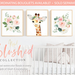 Watercolor Giraffe Painting with Flower Crown - Giraffe Art Print or Printable - Baby Giraffe Nursery Decor - Giraffe Animal Theme Zoo Print