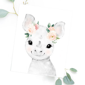 Watercolor Rhino Painting with Flower Crown - Floral Rhino Wall Art Print or Printable - Baby Rhino Nursery Decor - Rhino Animal Zoo Safari