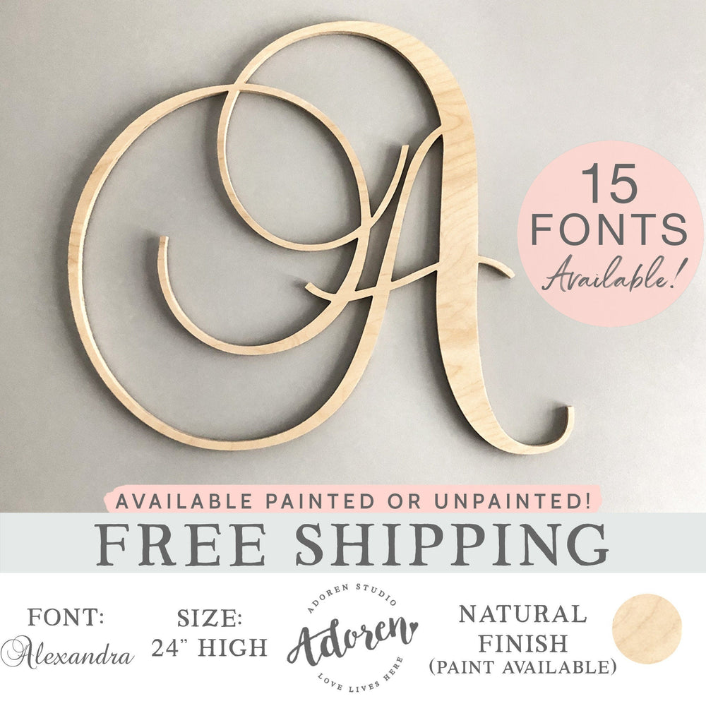 Wood Monogram Letter -  Custom Monogram Sign - Choose Your Font - Natural Wooden Initial Sign - Large Cursive Letter -  Painted or Unpainted