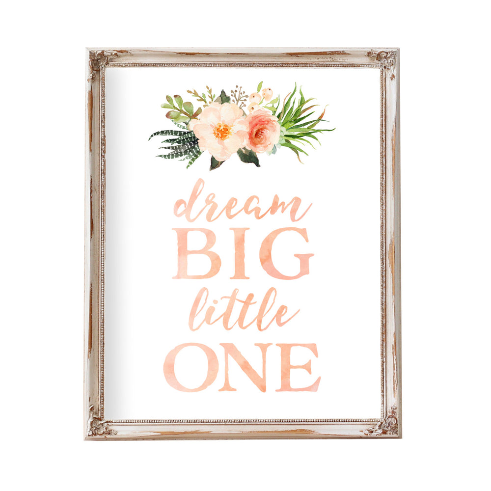 Dream Big Little One, Nursery Prints Nursery Wall Art Nursery Decor Art Baby Girl Room Coral Blush Peach Pink Floral Flowers Printable