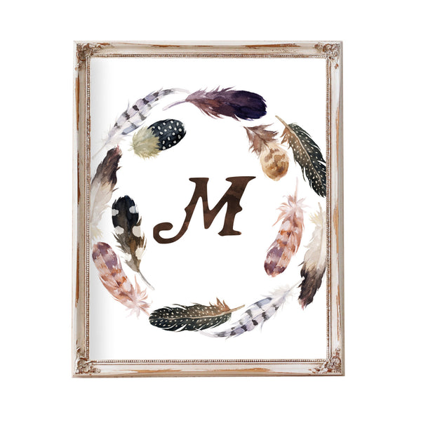 Tribal Nursery Art, Nursery Initial Boy, Boy Nursery Art, Printable, Monogram, Nursery Letter, Brown, Gray, Boy, Baby Boy Nursery, Feather