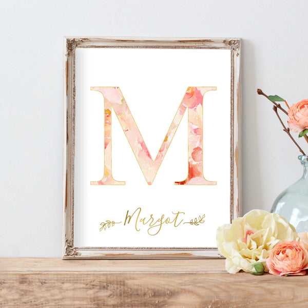 Nursery Art Girl Name Sign Floral Monogram Letter Print Baby Girl Flowers Nursery Printable Initial Personalized Customized Watercolor Art