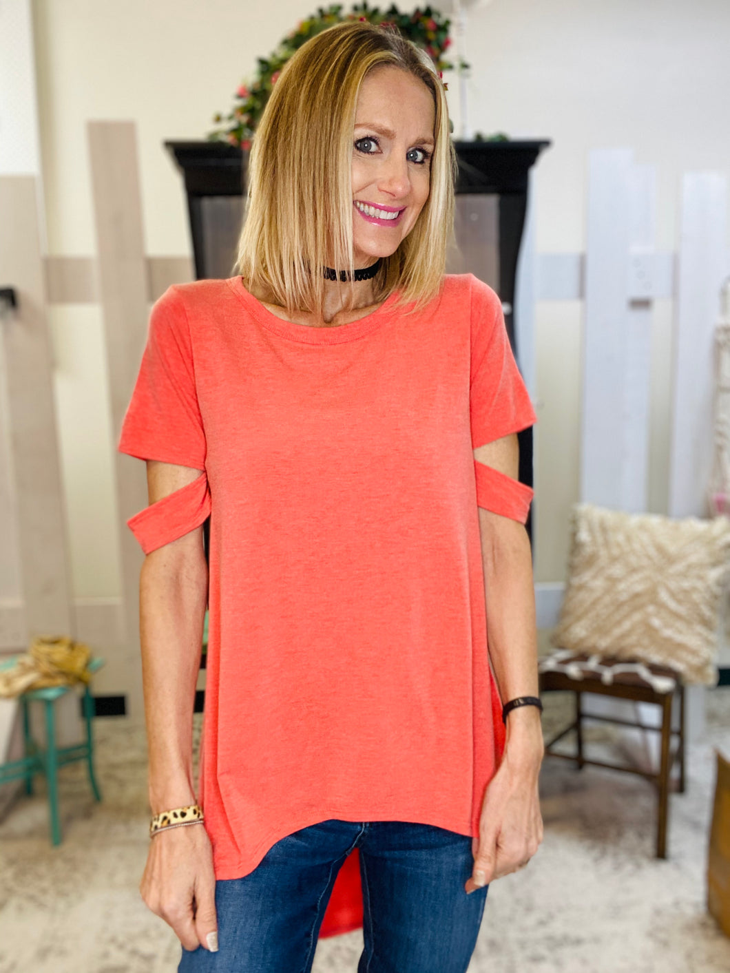 Lovely Coral Cutout Sleeves Hi Low Knit Top 4/1/21 7768