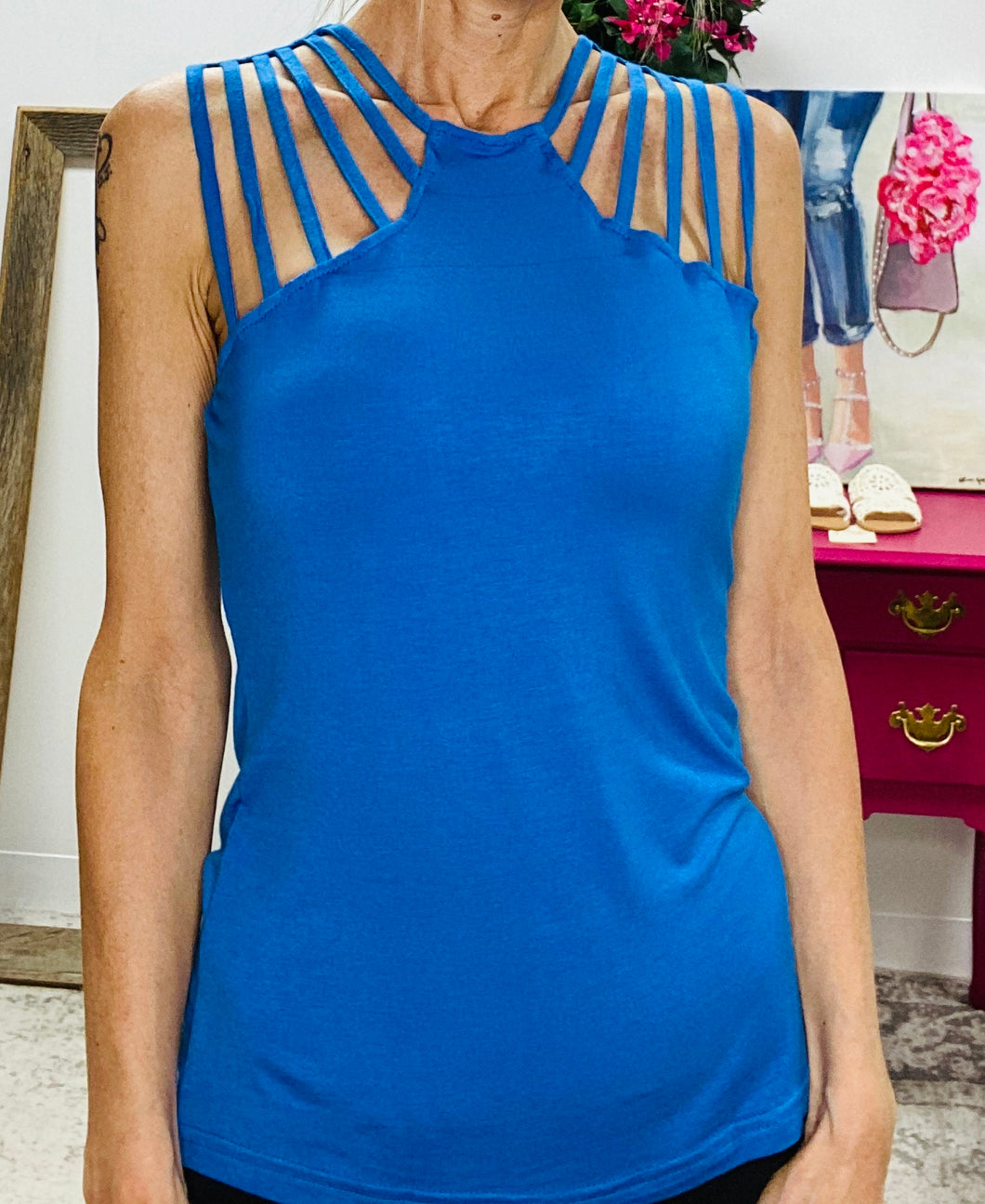 Blue Super Strappy Sleeveless Top 4/30/21 8372