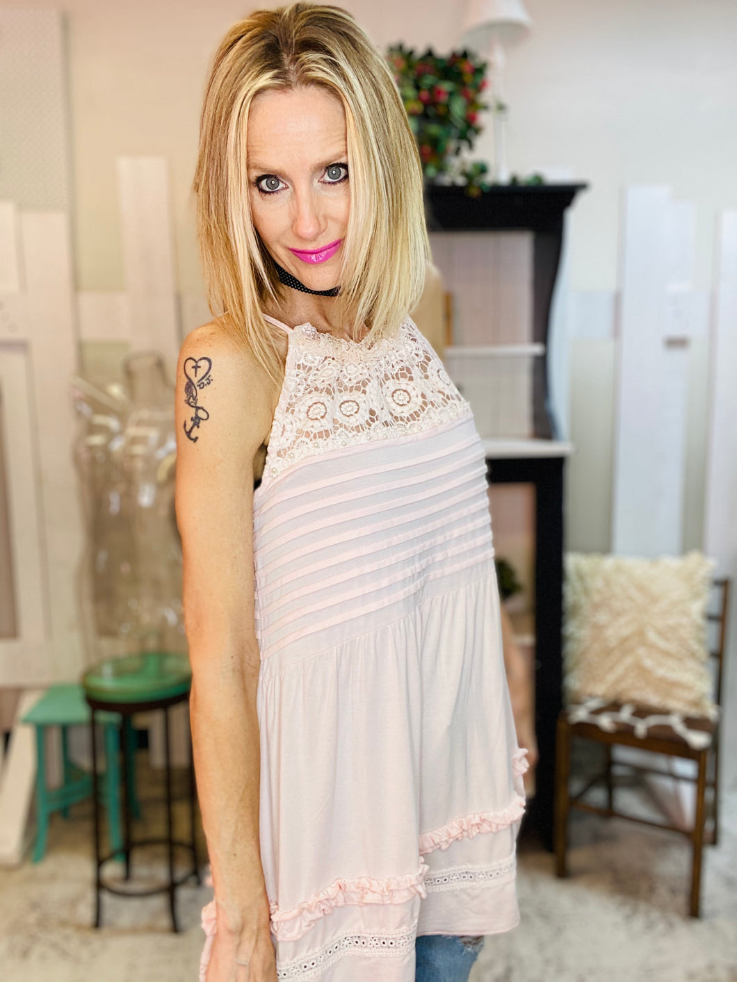Blush Knit Jersey Lace Cami 3/30/21 7688