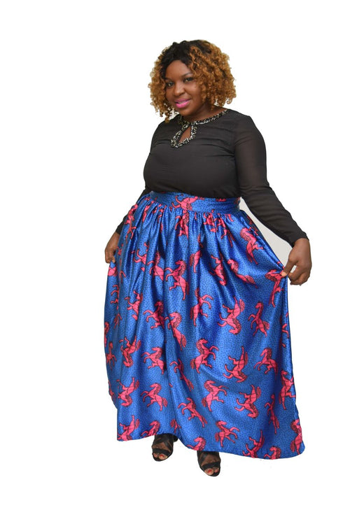 Women's Ankara Gathered Long Skirt