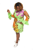 Women's Ankara Bell Sleeve A-Line Dress