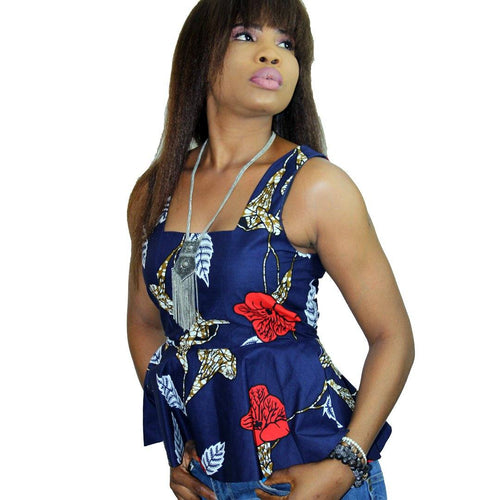 PARTY - Women's Ankara Sleeveless Peplum Top
