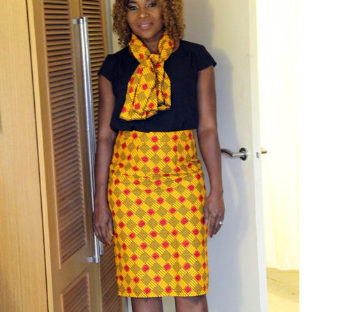 WORK - Women's Ankara High Waist Pencil Skirt