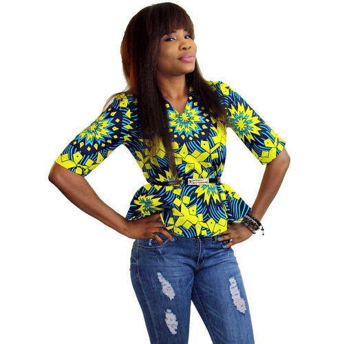WORK - Women's Ankara Three Quarter Peplum Top
