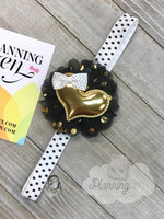 Black and White Planner Band with Gold Heart