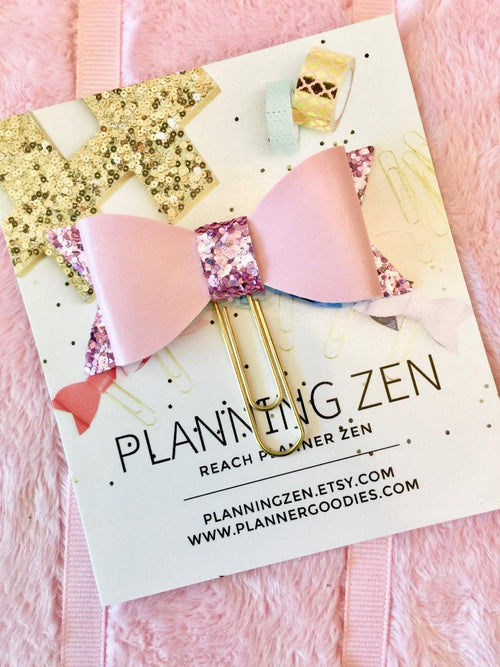 Bow Planner Clip Light Pink with Glitter Faux Leather