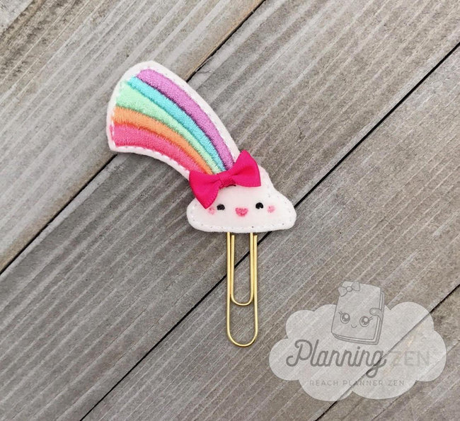 Books, Movies & Music - Kawaii Cloud With Rainbow Planner Clip