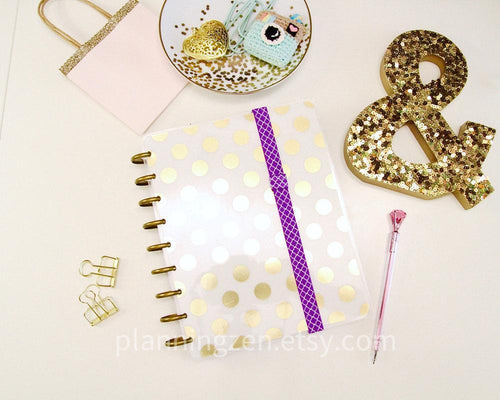 Purple Lattice Planner Band with Pen Loop