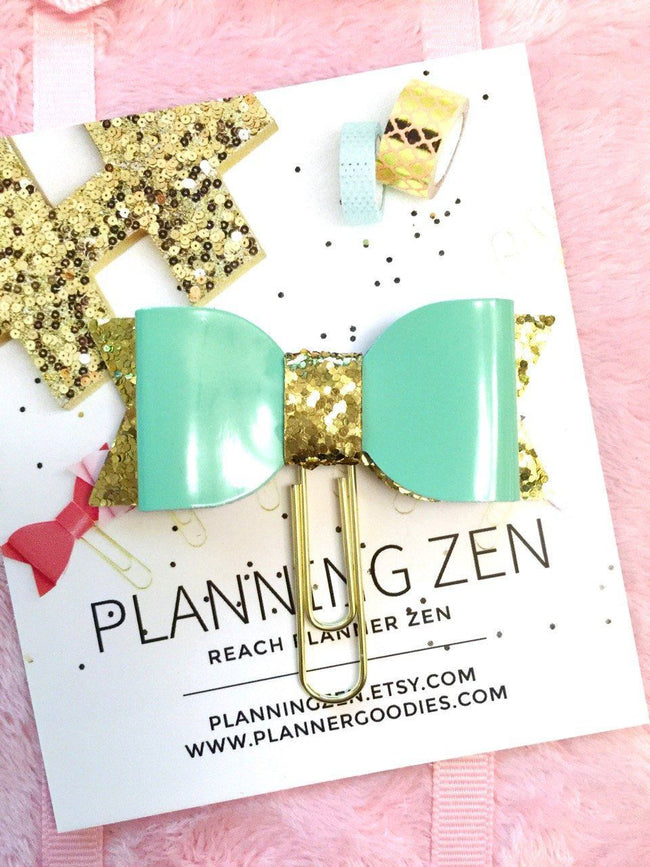 Books, Movies & Music - Shiny Mint Green Bow Planner Clip Green/Mint Faux Patent Leather With Gold Glitter Bow