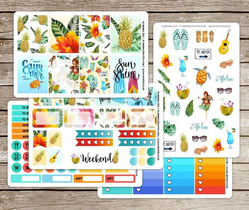 Aloha Hawaii Watercolor Vinyl Planner Stickers for use with EC Vertical Planners