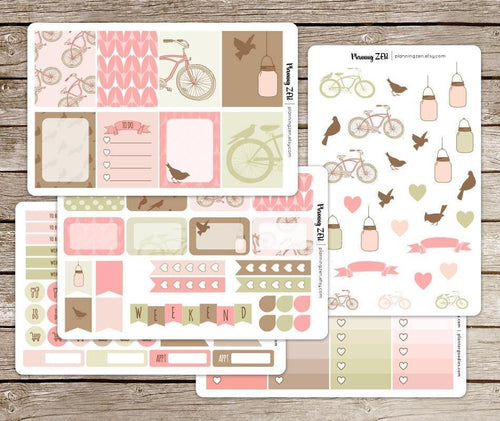 Bicycles & Birds Vinyl Planner Stickers for use with EC Vertical Planners