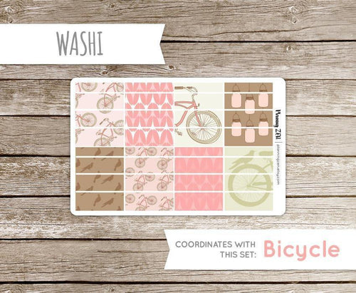 Bicycles and Birds Washi Strips Vinyl Planner Stickers for use with EC Vertical Planners