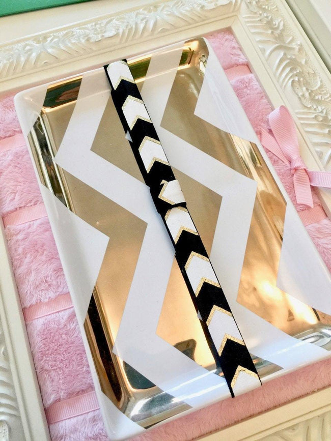 Craft Supplies & Tools - Black White And Metallic Gold Chevron Planner Band With Pen Loop