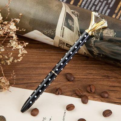 Black with White Dots & Gold Pen with Large Faux Diamond