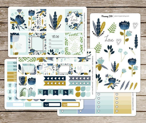 Blue Gold Watercolor Floral Vinyl Planner Stickers for use with EC Vertical Planners