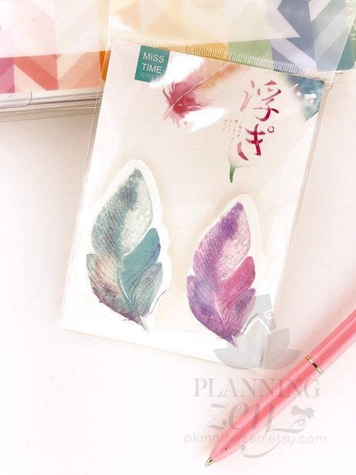 Boho Watercolor Feathers Set #1 Sticky Notes
