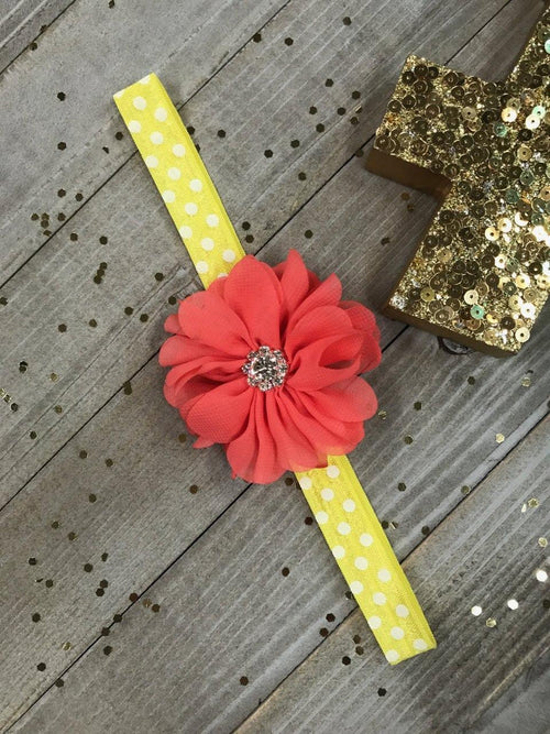 Coral Chiffon Flower on Yellow & White Polkadot Planner Band