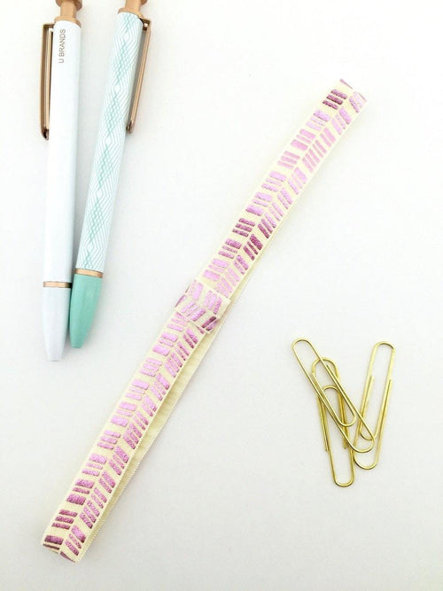 Cream with Metallic Pink Planner Band with Pen Loop