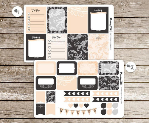 Elegant Peach Chalkboard Vinyl Planner Stickers for use with EC Vertical Planners