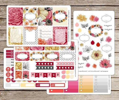 Floral Romance Vinyl Planner Stickers for use with EC Vertical Planners