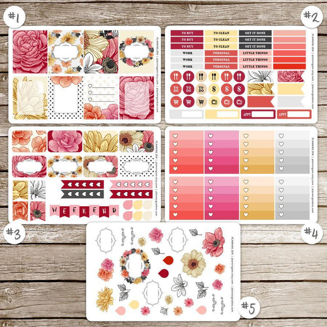 Craft Supplies & Tools - Floral Romance Vinyl Planner Stickers For Use With EC Vertical Planners