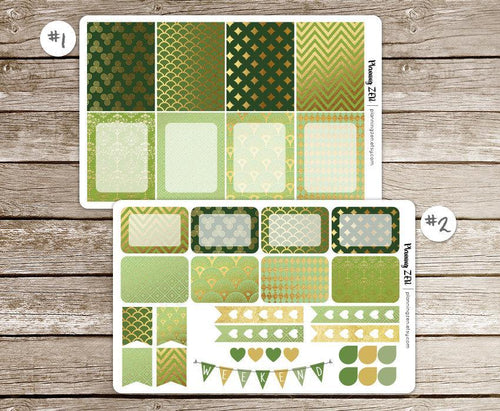 Green & Gold Vinyl Planner Stickers for use with EC Vertical Planners