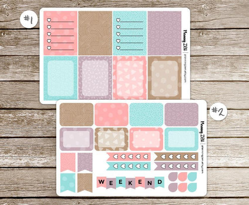Ice Cream Shop Patterns Vinyl Planner Stickers for use with EC Vertical Planners