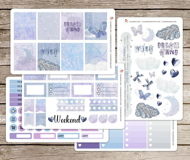 Craft Supplies & Tools - Lavender Dreamland Vinyl Planner Stickers For Use With EC Vertical Planners