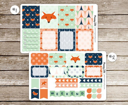 Modern Fox Vinyl Planner Stickers for use with EC Vertical Planners