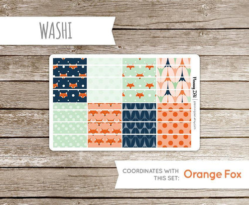 Modern Fox Washi Strips Vinyl Planner Stickers for use with EC Vertical Planners