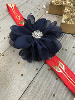 Navy Blue Chiffon Flower on Red & Metallic Gold Hearts and Arrows Planner Band - Planning Zen Planner Accessories