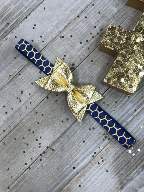 Navy with Metallic Gold Lattice and Shiny Gold Faux Leather Bow Glam Planner Band