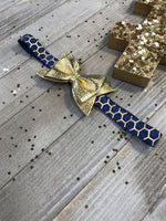Craft Supplies & Tools - Navy With Metallic Gold Lattice And Shiny Gold Faux Leather Bow Glam Planner Band