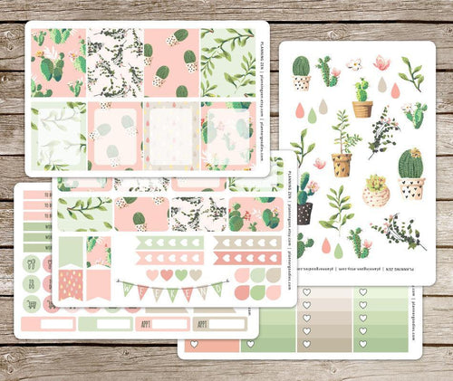 Painted Cactus Vinyl Planner Stickers for use with EC Vertical Planners