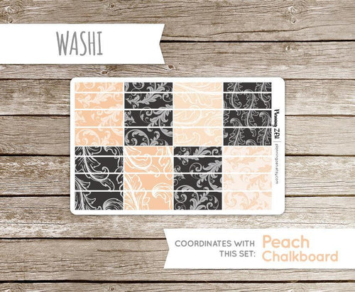 Peach Chalkboard Washi Strips Vinyl Planner Stickers for use with EC Vertical Planners