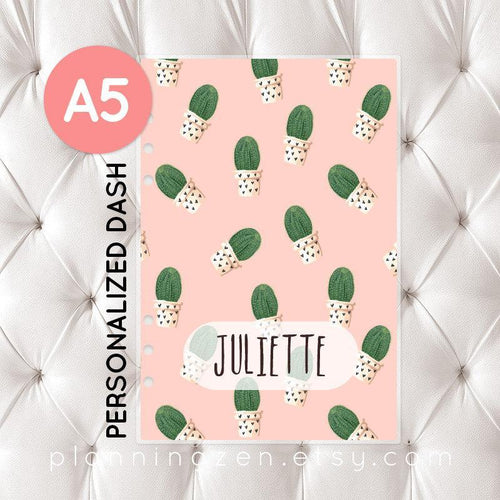 Personalized A5 Planner Dashboard - Cactus #2
