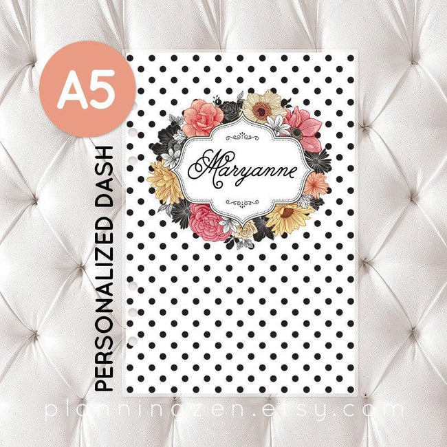 Personalized A5 Planner Dashboard - Floral Romance #1 - Planning Zen Planner Accessories