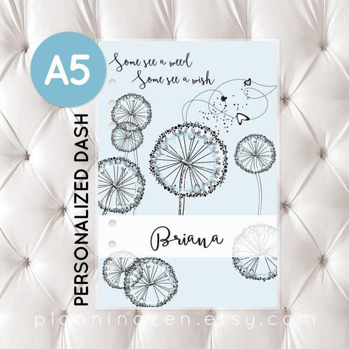 Personalized A5 Planner Dashboard - Ice Blue Dandelion